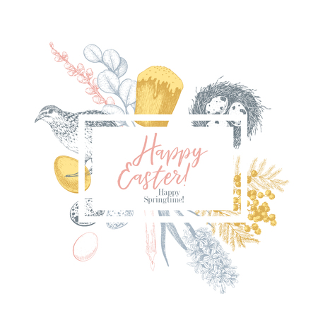 Easter greeting card. Hand drawn vector banner. Eggs, nest, cake, willow branch, quail, hydrangea, tulip, mimosa, hyacynth Vintage engraved spring holiday decoration Traditional retro icon set Imagens - 125140390