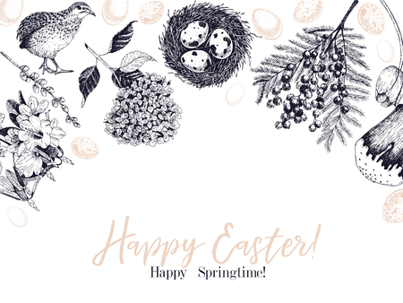 Easter greeting card. Hand drawn vector banner. Eggs, nest, cake, willow branch, quail, hydrangea, tulip, mimosa, hyacynth Vintage engraved spring holiday decoration Traditional retro icon set Ilustracja
