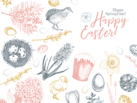 Easter greeting card. Hand drawn vector banner. Eggs, nest, cake, willow branch, quail, hydrangea, tulip, mimosa, hyacynth Vintage engraved spring holiday decoration Traditional retro icon set Imagens - 125100477
