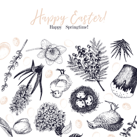 Easter greeting card. Hand drawn vector banner. Eggs, nest, cake, willow branch, quail, hydrangea, tulip, mimosa, hyacynth Vintage engraved spring holiday decoration Traditional retro icon set Vettoriali