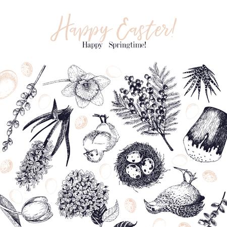 Tarjeta de felicitación de Pascua. Banner de vector dibujado a mano. Huevos, nido, pastel, rama de sauce, codorniz, hortensia, tulipán, mimosa, jacinto Vintage grabado decoración de vacaciones de primavera Conjunto de iconos retro tradicional