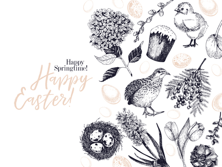 Easter greeting card. Hand drawn vector banner. Eggs, nest, cake, willow branch, quail, hydrangea, tulip, mimosa, hyacynth Vintage engraved spring holiday decoration Traditional retro icon set Imagens - 125053366