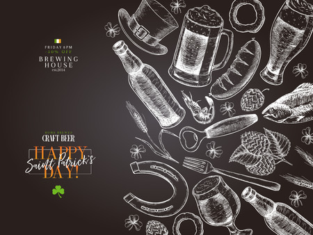 Hand drawn Saint Patrick day pub poster. Beer and snacks. Vector glass, bottle, clover, horseshoe, barley, hop, food, hat. Bar alcohol beverages. Irish craft brewery Discount banner flyer poster, menu Illustration