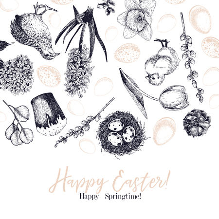 Easter greeting card. Hand drawn vector banner. Eggs, nest, cake, willow branch, quail, hydrangea, tulip, mimosa, hyacynth Vintage engraved spring holiday decoration Traditional retro icon set Illustration