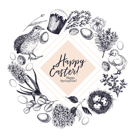 Easter greeting card. Hand drawn vector banner. Eggs, nest, cake, willow branch, quail, hydrangea, tulip, mimosa, hyacynth Vintage engraved spring holiday decoration Traditional retro icon set Illusztráció