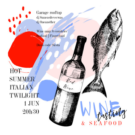Wine tasting and seafood party poster. Vector hand drawn fish with red wine bottle. Italian sea fingerfood banner. Modern abstract background. Vintage restaurant menu, invitation, flyer design