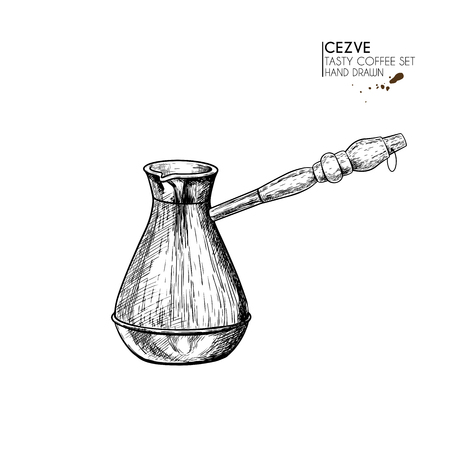 Coffee set. Hand drawn coffee cezve, turkish pot, anchient equipment for espresso. Vector engraved icon. Morning fresh drink. For restaurant and cafe menu, coffee shop flyer, banner design template