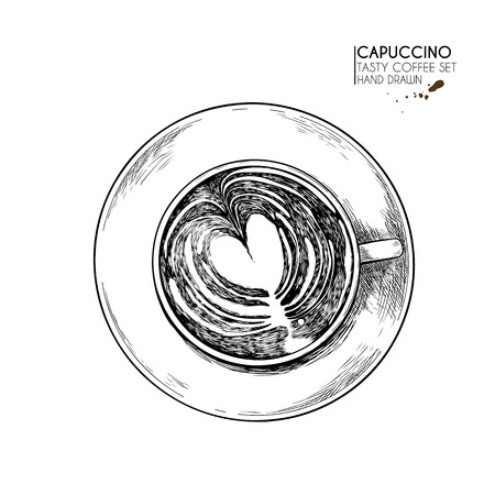 Coffee set. Hand drawn coffee cup from above. top view of mug of cappuccino or late. Vector engraved icon. Morning fresh drink. For restaurant and cafe menu, coffee shop flyer, banner design template Иллюстрация