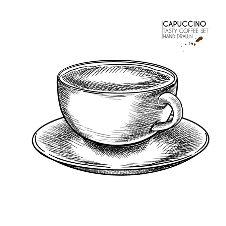 Coffee set. Hand drawn coffee cup. Mug of cappuccino or late with milk foam. Vector engraved icon. Morning fresh drink. For restaurant and cafe menu, coffee shop flyer, banner design template