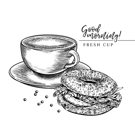 Coffee set. Hand drawn coffee cup of cappuccino or late and bagel. Breakfast bakery with coffee. Vector engraved icon. Morning fresh drink. For restaurant and cafe menu, coffee shop design template Иллюстрация