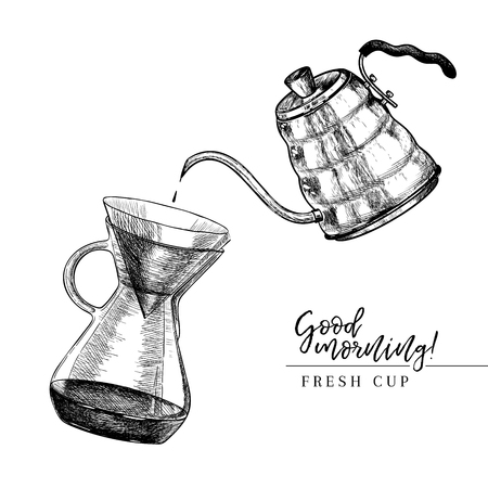 Coffee set. Hand drawn pour over and coffe kettle. Alternative brewing method. Barista equipment. Vector engraved icon. Morning fresh drink. For restaurant and cafe menu, coffee shop design template Vektorové ilustrace