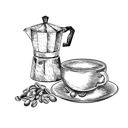 Coffee set. Hand drawn coffee cup of cappuccino or late and retro geyser moca with grain pile. Vector engraved icon. Morning fresh drink. For restaurant and cafe menu, coffee shop design template