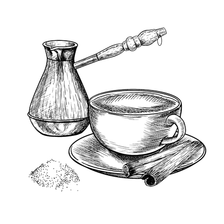 Coffee set. Hand drawn coffee cezve, anchient equipment for espresso, mug and spice. Vector engraved icon. Morning fresh drink. For restaurant and cafe menu, coffee shop flyer, banner design template  イラスト・ベクター素材