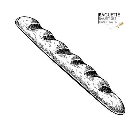 Bakery set. Hand drawn isolated baguette. Traditional french bakery. Vector engraved icon. For restaurant and cafe menu, baker shop, bread, pasty, sweets. Design template