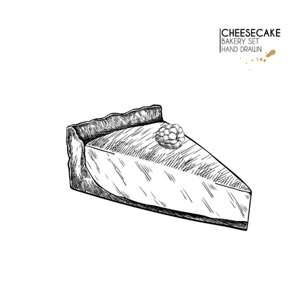 Bakery set. Hand drawn isolated  slice of cheesecake. Traditional sweet bakery. Vector engraved icon. For restaurant and cafe menu, baker shop, bread, pasty, desserts, sweets. Design template