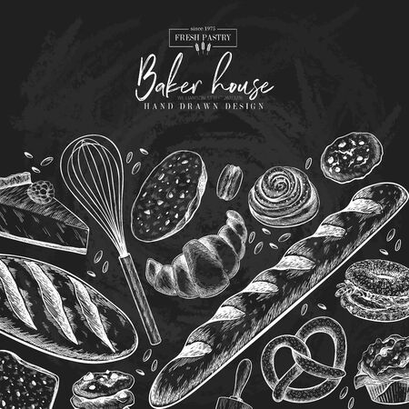 Bakery set. Hand drawn bread, loaf, croissant, pretzel, macaron, pie, baguette. Wheatl flour pastry. Chalkboard vector engraved banner. For restaurant and cafe menu, baker shop pasty sweets