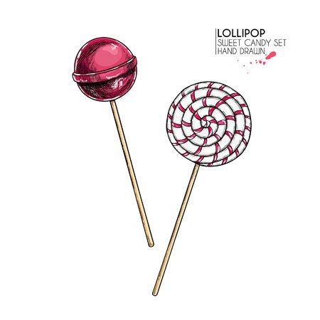 Hand drawn set of sweet candies. Twisted caramel lollipops. Vector food icons. Use for restaurant, menu, party decorating, flyer, banner. Sugar Halloween, Christmas dessert Ilustrace