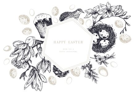 Easter greeting card. Hand drawn vector banner. Eggs, nest, cake, willow branch, quail, hydrangea, tulip, magnolia, hyacynth, lilac. Vintage engraved spring holiday decoration Traditional retro icon set