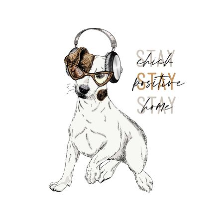 Hand drawn jack russel terrier dog with a headphones. Vector engraved quarantine poster. Stay positive, stay at home. Covid-19 pandemic flyer. Listening to music, enjoing a freetime