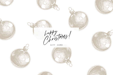 Hand drawn detailed Christmas balls. Vector greeting card. Xmas, New Year flyer design. Minimalist trendy pattern. Use for holiady sale, advertisement, shop promotion, brancd merchandising