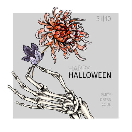 Halloween poster. Vector hand drawn human arm with flower. Detailed chrysanthemum botanical drawing. Body parts, bones. Anatomic hands view. Use for greeting card, holiday celebration, flyer design