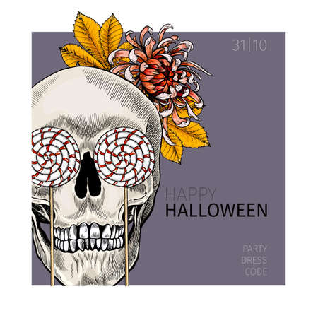 Halloween poster. Vector hand drawn human skull with leaf crown and candy eyes. Detailed drawing. Body parts, bones. Anatomic hands view. Use for greeting card, holiday celebration, flyer design