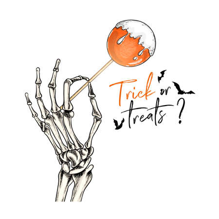 Halloween poster. Vector hand drawn human arm with candy stick. Detailed anatomical hand bone drawing. Body parts. Traditional Halloween decor. For greeting card, holiday celebration, flyer design