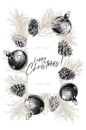 Hand drawn detailed Christmas balls, pine branches, cones. Vector greeting card. Xmas, New Year minimalist flyer design. Use for holiady sale, advertisement, shop promotion, brancd merchandising