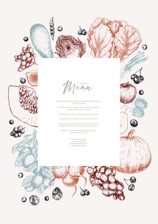 Hand drawn vegetables and fruits. Vector pupkin, pear,apple, artichoke, plum, grape, tomato, onion, cheery, gooseberry blackberry Engraved illustration Menu template flyer restaurant design 向量圖像