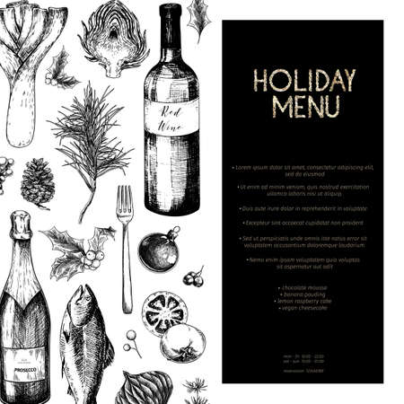Vector menu template. Hand drawn detailed Christmas decorations, wine, seafood, meat, fruits and vegetables. Modern trendy design. Use for holiday menu, restaurant, shop promotion, brand merchandising