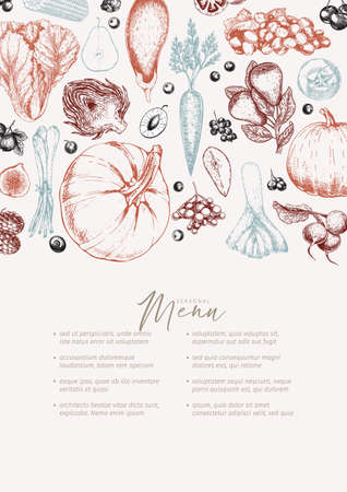 Hand drawn vegetables and fruits. Vector pumpkin, pear,apple, artichoke, plum, grape, tomato, onion, cheery, gooseberry blackberry Engraved illustration Menu template flyer restaurant design