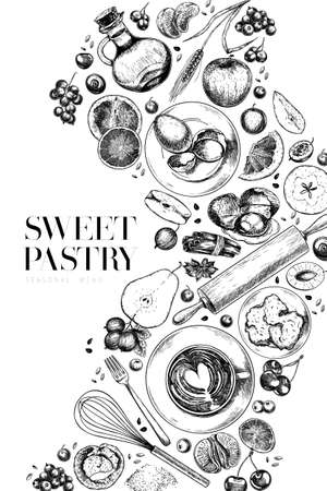 Hand drawn sweet pastry. Vector bakery, flour, eggs, apple, pear, orange, lemon, blueberry, berries, cinnamon, spices Cooking a pie Engraved illustration Menu package food banner design 矢量图像