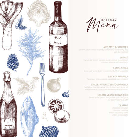 Vector menu template. Hand drawn detailed Christmas decorations, wine, seafood, meat, fruits and vegetables. Modern trendy design. Use for holiady menu, restaurant, shop promotion, brand merchandising