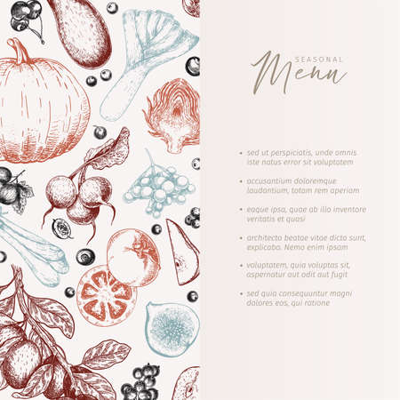Hand drawn vegetables and fruits. Vector pupkin, pear,apple, artichoke, plum, grape, tomato, onion, cheery, gooseberry blackberry Engraved illustration Menu template flyer restaurant design 矢量图像