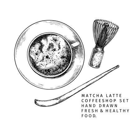 Coffeeshop and bakery set. Hand drawn top view of matcha mug, chasen, spoon. Traditional asian beverage and barista equipment. Vector engraved icon set. Restaurant branding template, menu design Çizim