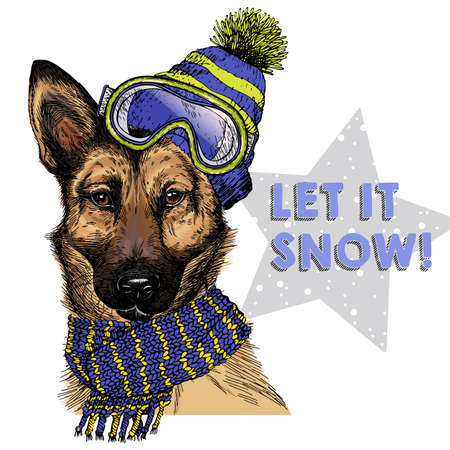 Hand drawn portrait of german shepherd dog wearing hat, goggles and scarf. Vector Christmas illustration. Colored puppy. Xmas, New Year. Greeting card, party flyer, invitation banner. Winter holiday