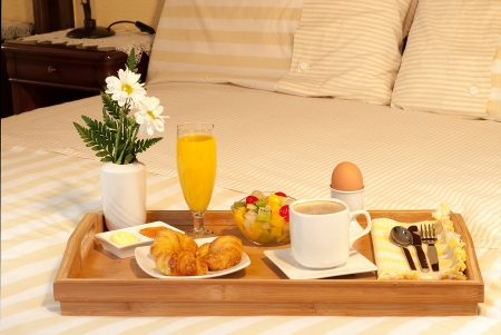 Full breakfast in bed tray photo