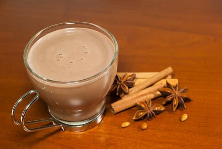 cup of hot chocolate on wooden table photo