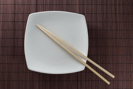 plate and stick on bamboo placemat background  photo