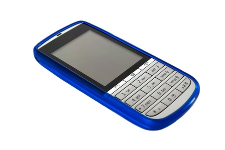 silicone: mobile phone silicone with blue on white background