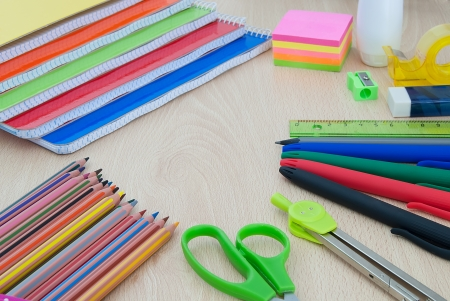School supplies for back to school, on wooden table photo