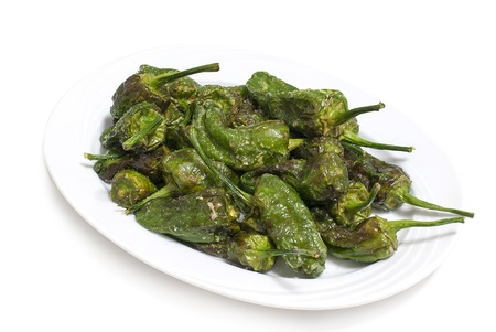 source fried padron peppers, typical food of Galicia