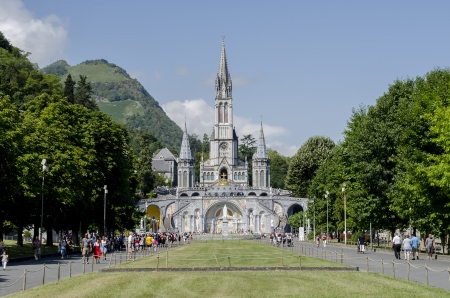 pilgrimage: The Sanctuary of Our Lady of Lourdes  Grotto   in the town of Lourdes, France
