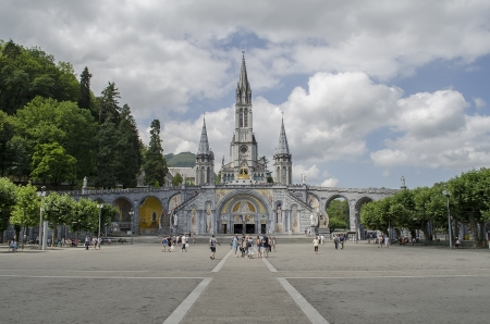 The Sanctuary of Our Lady of Lourdes  Grotto   in the town of Lourdes, France
