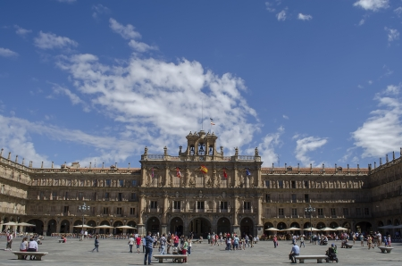 Plaza Mayor,main city square in Salamanca, Castilla y Leon, Spain