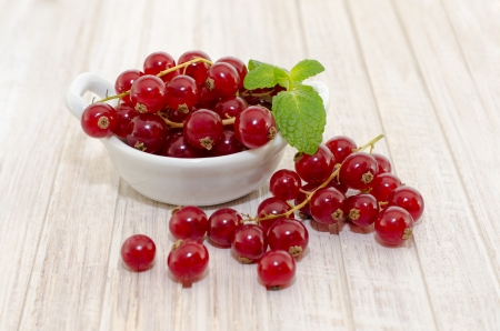redcurrant: fresh redcurrant berry fruit close up shoot  in porcelain bowl Stock Photo