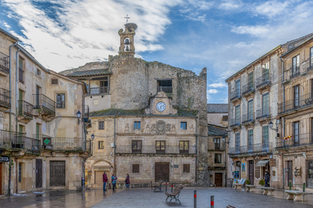 Sepulveda, Segovia, Spain; 03 17 2018: Square and facade of the town hall of the village of Sepulveda
