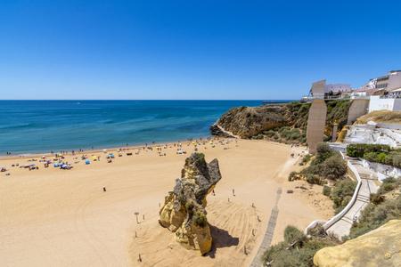 City beach Albufeira sunny july day, Algarve, Portugal Stock Photo
