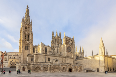 Burgos, Spain; 01 14 2017: The Cathedral Santa Maria de Burgos, is the maximum exponent of Gothic in Spain