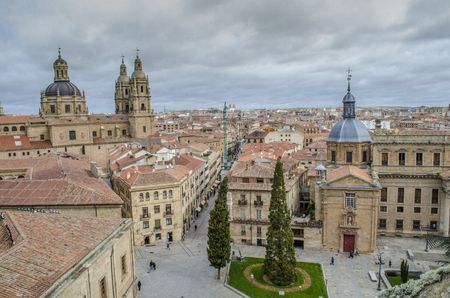 Cityscape of the center of Salamanca, seen from the tower of the Cathedral on a cloudy day, Spain Standard-Bild